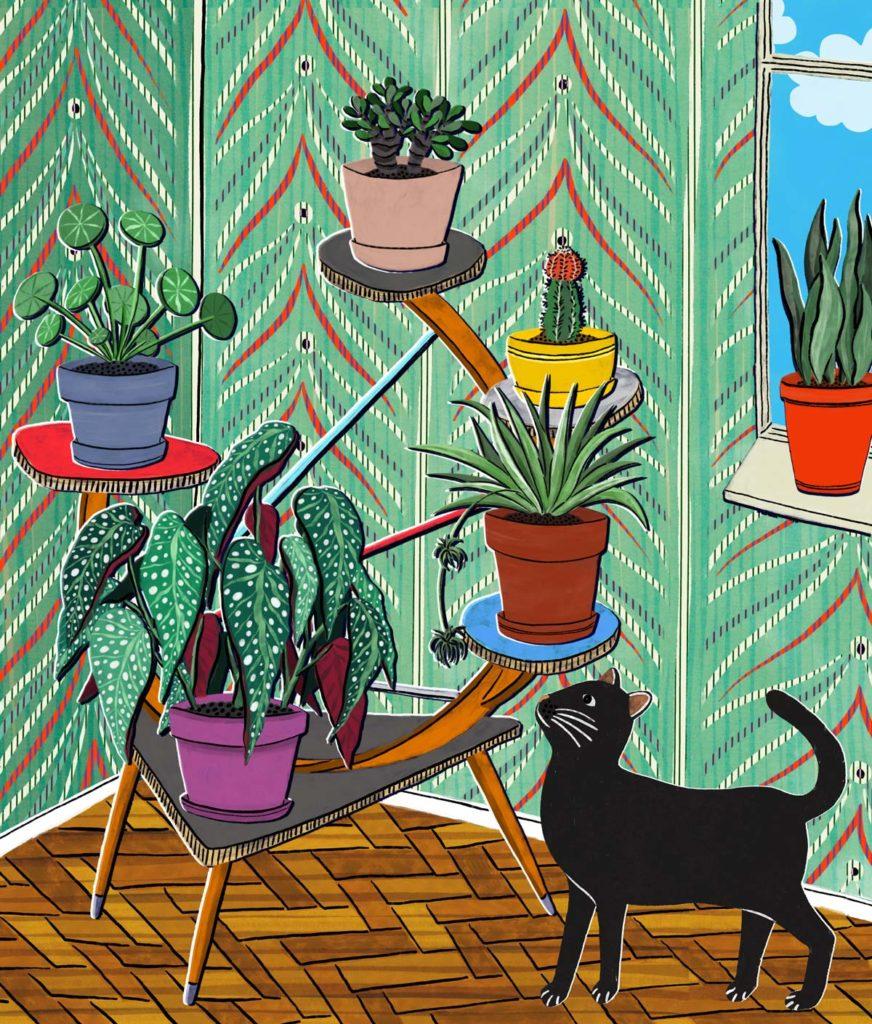 veronique de jong illustration vintage home plant stand cat