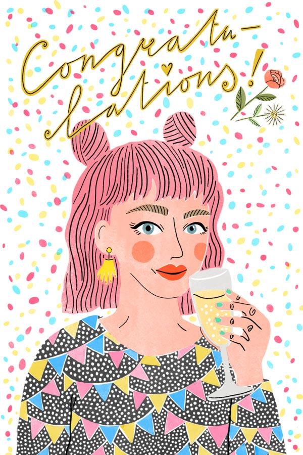 veronique de jong illustration congratulations party celebration