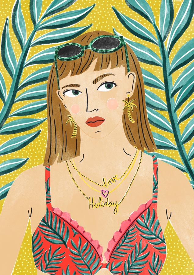 veronique de jong illustration summer bummer holiday love bikini