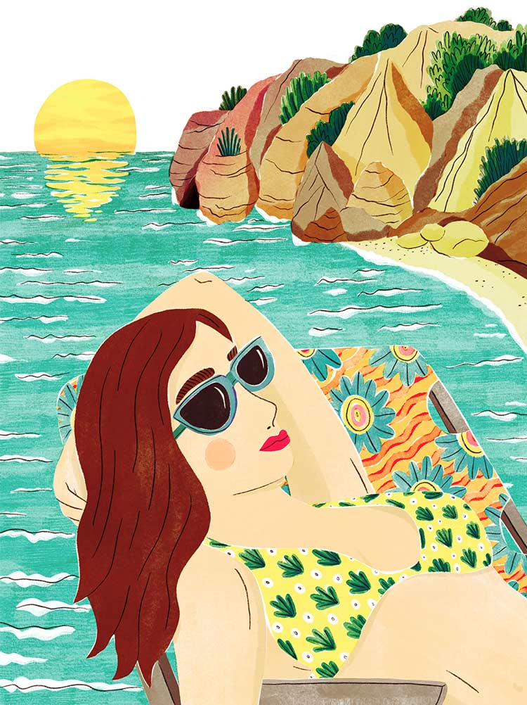 veronique de jong illustration beach corfu girl sunset sunrise cliffs sea summer sunbathing tan