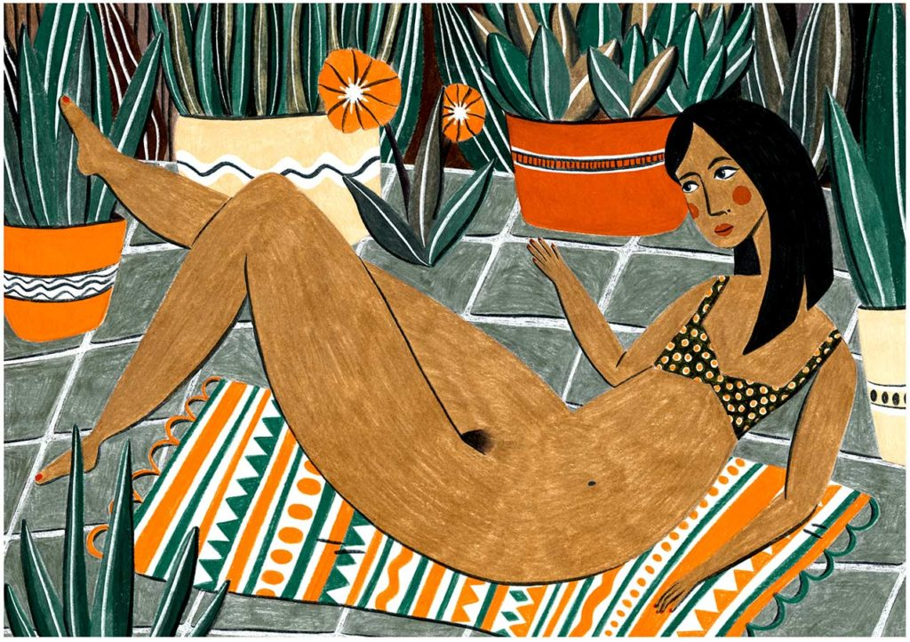 veronique de jong illustration nadia girl summer love
