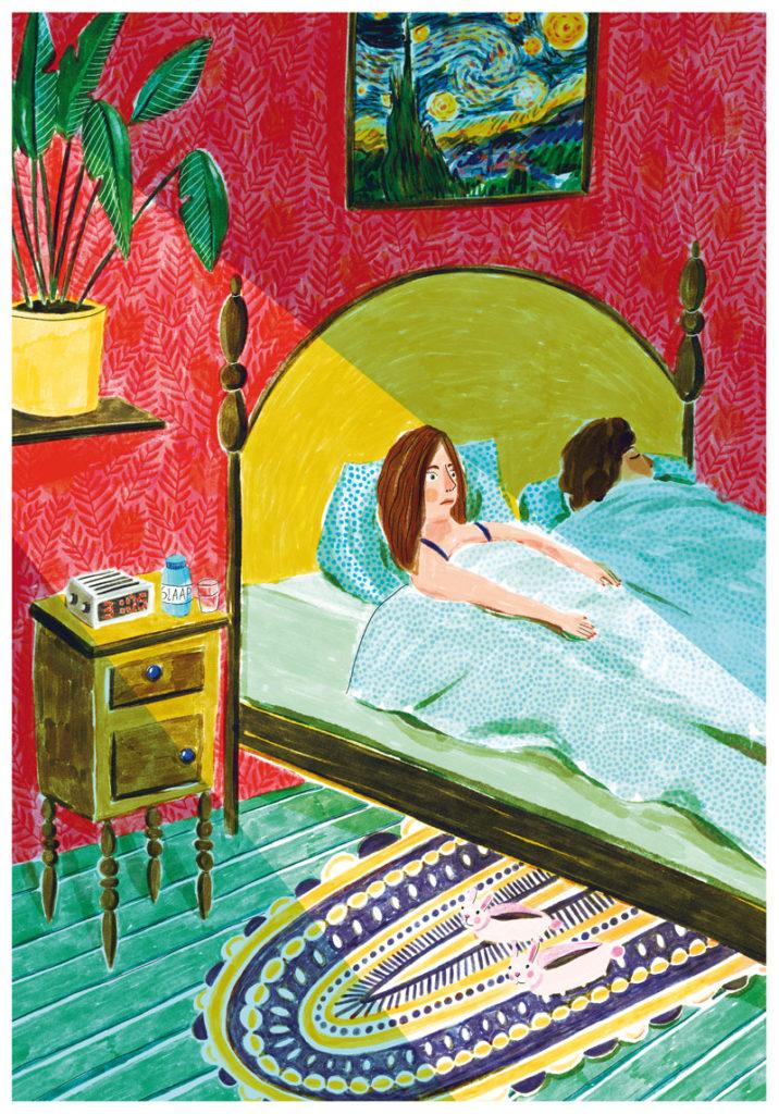 veronique de jong illustration consumentenbond gezondgids illustratie melatonine slapen slaap pillen wakker liggen bed wekker