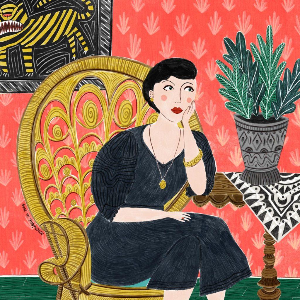 veronique de jong illustration lady woman girl artwork tiger plant baroque peacock chair vintage