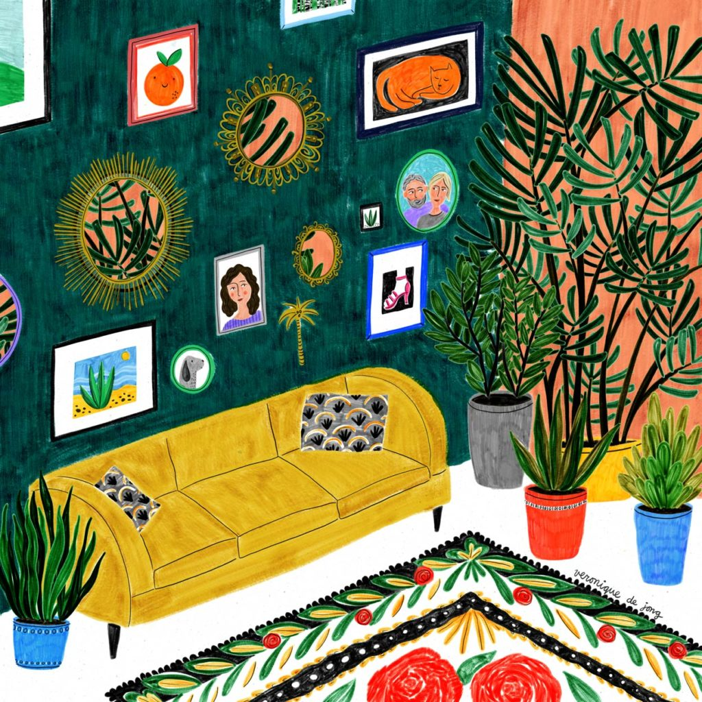 veronique de jong illustration vintage plants interior