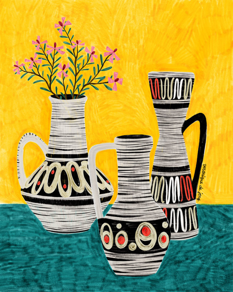 veronique de jong illustration west germany vintage vases scheuring bay jasba illustration blossom spring