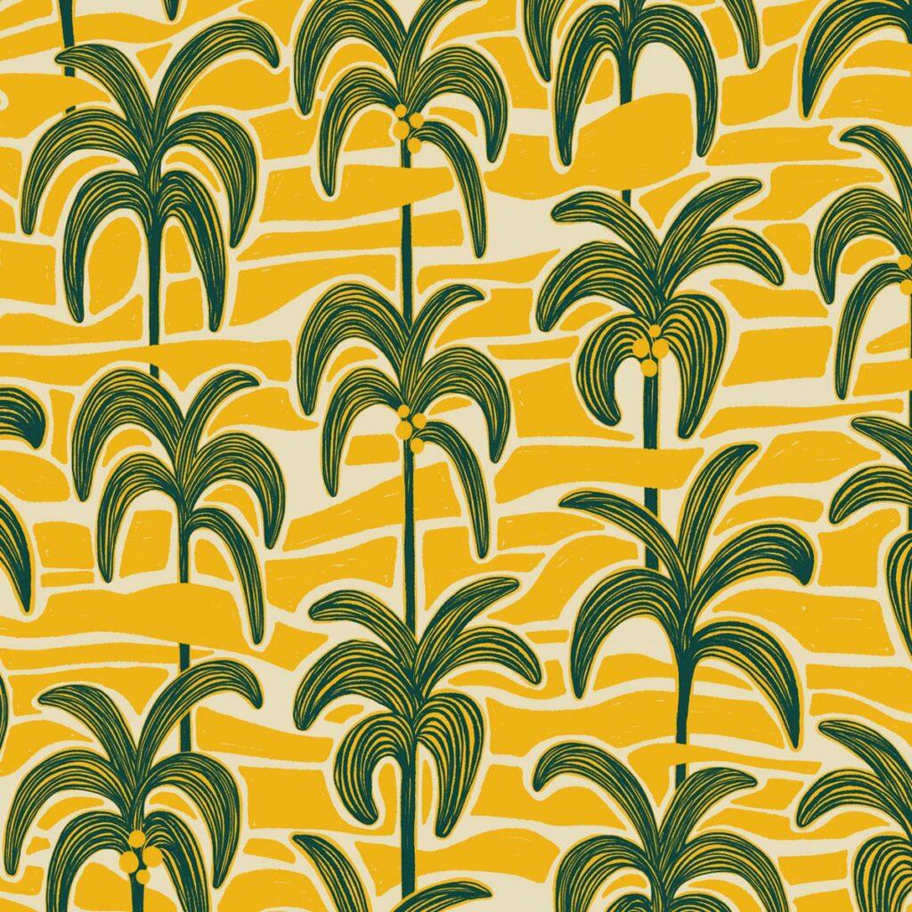 kalahari palms fabric surface pattern design by veronique de jong
