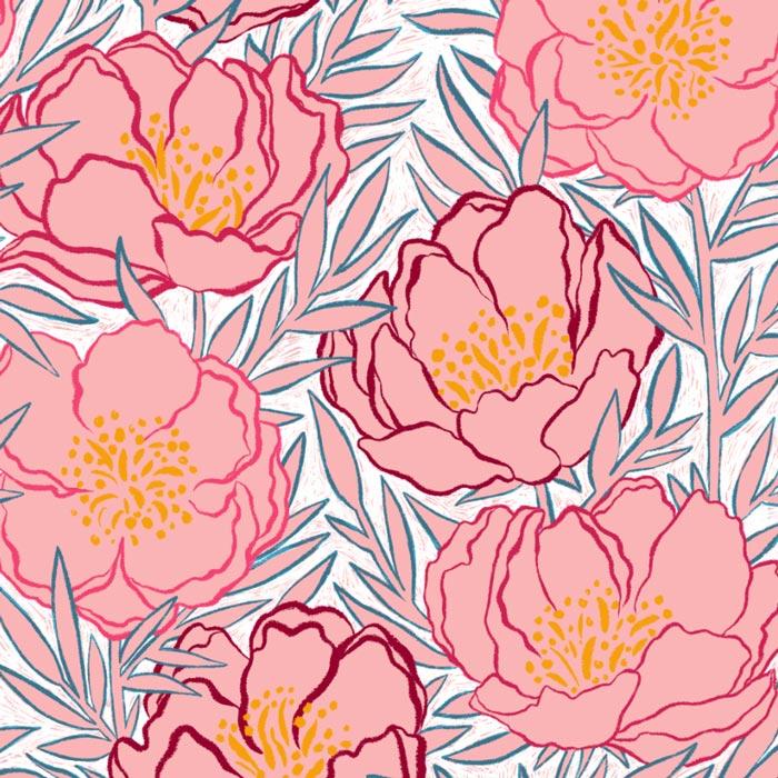 veronique de jong surface pattern design peony peonies pioenroos floral vintage
